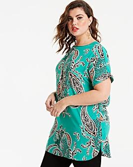 Green Print Longline Drop Sleeve Top