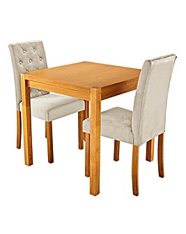 Oakham Oak Veneer Square Dining Table with 2 Grace Velvet Chairs