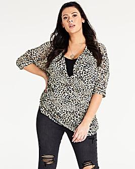 Leopard Print Asymmetric Wrap Blouse