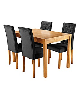 Oakham Oak Veneer Rectangular Dining Table with 4 Grace Velvet Chairs