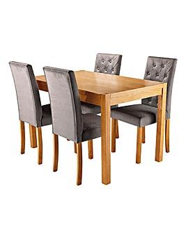 Oakham Oak Veneer Rectangular Dining Table with 4 Grace Velvet Chairs