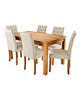 Oakham Oak Veneer Large Rectangular Dining Table with 6 Grace Velvet Chairs