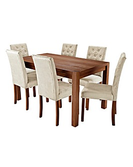 Oakham Large Table 6 Grace Velvet Chairs