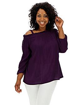 c046a7fe76d1e Purple Cold Shoulder Crinkle Bardot