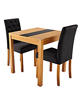 Oakham Panel Table 2 Grace Velvet Chairs