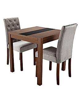 Oakham Panel Table 2 Grace Velvet Chairs