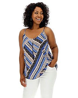 Blue Tile Print Strappy Cami