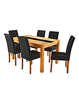 Oakham Panel Table 6 Grace Velvet Chairs