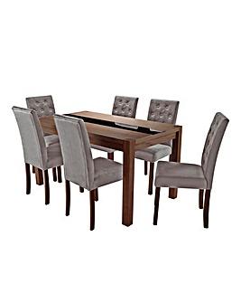 Oakham Panel Table 6 Grace Velvet Chairs