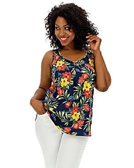 Tropical Floral Print Vest