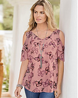 Together Butterfly Print Dusky Pink Top