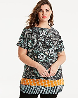 Black/Green Print Longer Length Boxy Top