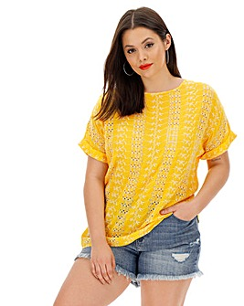 Yellow/White Broderie Boxy Top