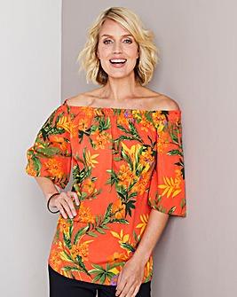 Orange Print 3/4 Sleeve Bardot Top