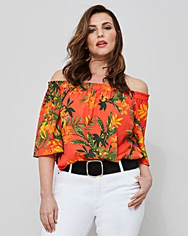 Orange Print 3/4 Sleeve Bardot Top