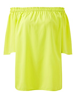 Neon Yellow 3/4 Sleeve Bardot Top