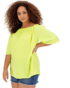 2744b25b0b275 Neon Yellow 3 4 Sleeve Bardot Top