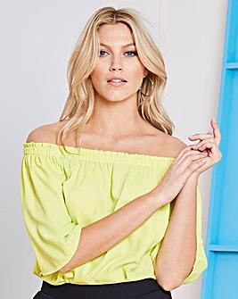 Neon Yellow 3/4 Sleeve Bardot Top