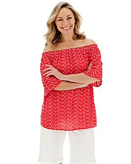 Red/White Broderie Bardot Top