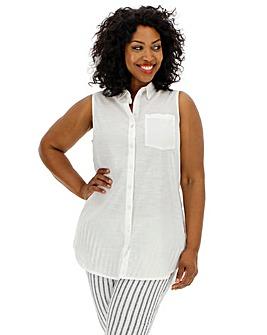 White Cotton Sleeveless Shirt