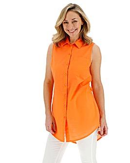 Orange Cotton Sleeveless Shirt