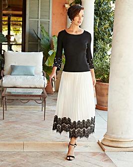 Joanna Hope Lace Trim Pleated Midi Skirt