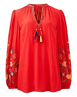Red Embroidered Peasant Blouse