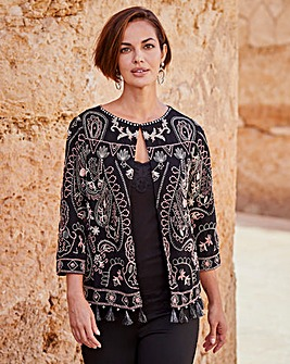 Joanna Hope Embroidered Boho Jacket