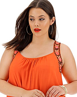 Orange Embroidered Vest