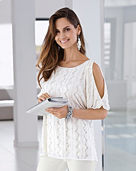 Together Beaded Cold Shoulder Blouse