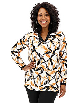 Mixed Zebra Contrast Trim Satin Blouse