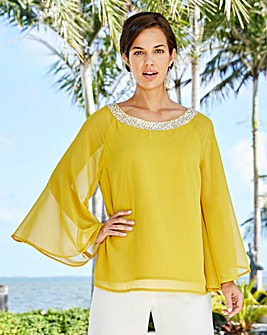 Joanna Hope Jewel Trim Blouse