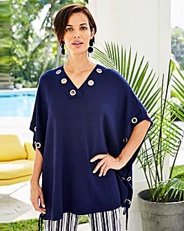 Joanna Hope Eyelet Poncho