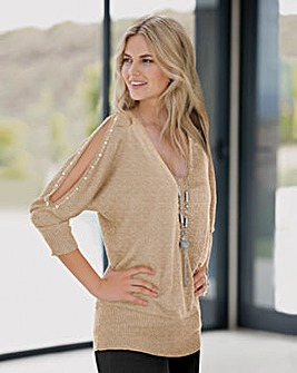 Together Metallic Split Slv Gold Jumper