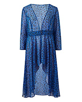 Blue Animal Print Long Sleeve Kimono