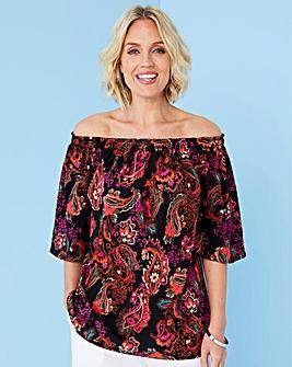 Paisley Print 3/4 Sleeve Bardot Top