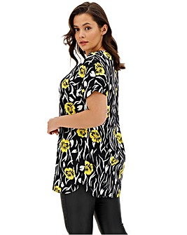 Mono Print Longer Length Boxy Top
