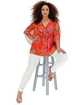 Orange Print Wrap Kimono Chiffon Blouse