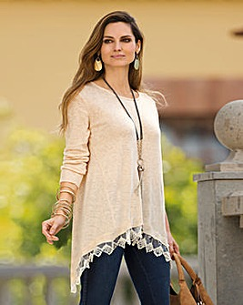 Together Dipped Lace Hem Jumper