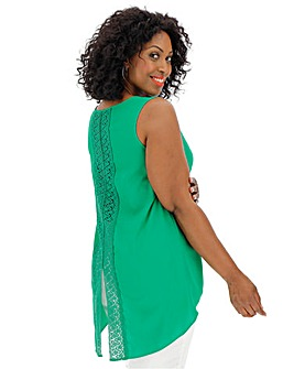Green Crochet Back Detail Top