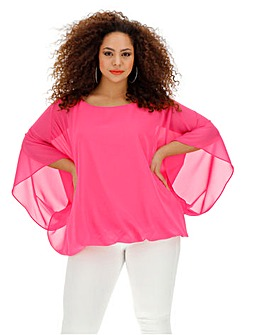 Pink Bubble Hem Overlay Blouse