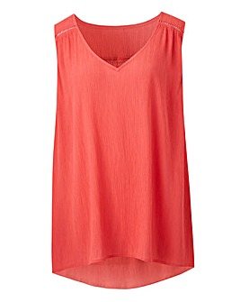 Coral Crinkle Ladder Trim Vest