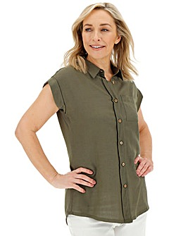 Khaki Pocket Detail Utility Shirt