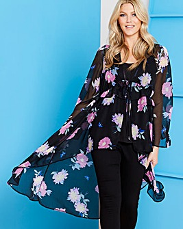 Black Floral Tie Front Layer Kimono