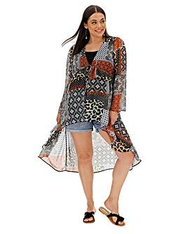 Mix Print Tie Front Layer Kimono