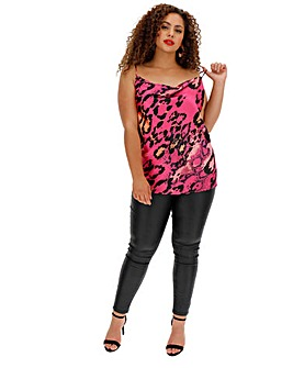 Pink Leopard Print Cowl Neck Cami
