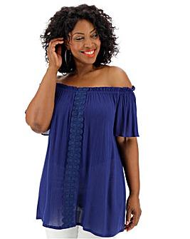 Blue Crinkle Crochet Bardot