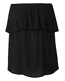Black Crinkle Pull On Bardot