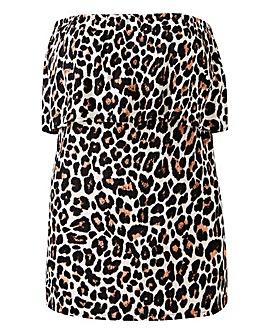 Leopard Print Crinkle Pull On Bardot