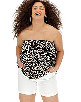 Leopard Print Crinkle Pull On Bandeau